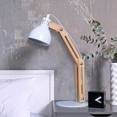 HOMCOM® Tischleuchte Schreibtischlampe verstellbar Leselampe Büro Metall + Holz weiss 26 x 15 x 41 cm