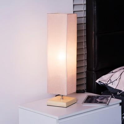 HOMCOM® Tischlampe Nachttischlampe E27 Leinen Beige rechteckig