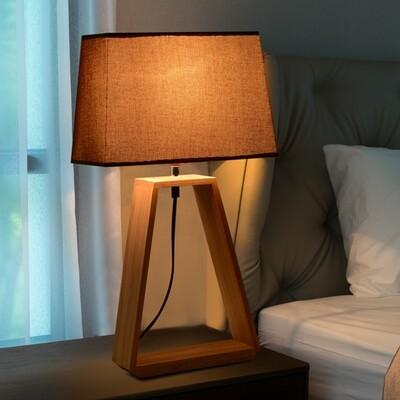 HOMCOM® Tischlampe Nachttischlampe Leselampe Stoffschirm Minimalistisch Eichenholz E27 40 W