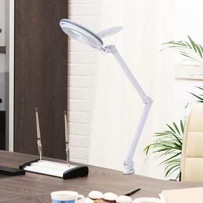 HOMCOM® Lupenleuchte Arbeitsplatzlampe Kosmetiklampe 8W 5D Weiss