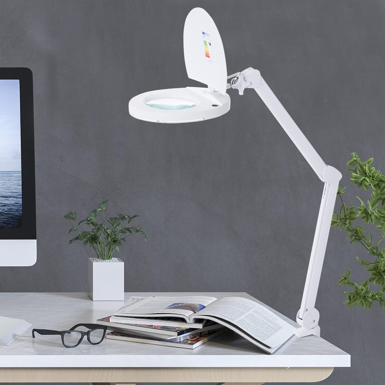 HOMCOM® Lupenleuchte Arbeitsplatzlampe Kosmetiklampe 8W 3D Weiss