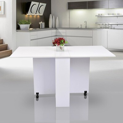 HOMCOM Wohnzimmer- und Esstisch mit Rollen | MFC | 140 x 80 x 74 cm | Weiss