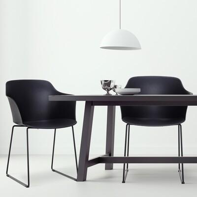 Outlet: HOMCOM® Esszimmerstühle 2er-Set Essstühle Metallbeine mit Möbelgleitern PP Schwarz