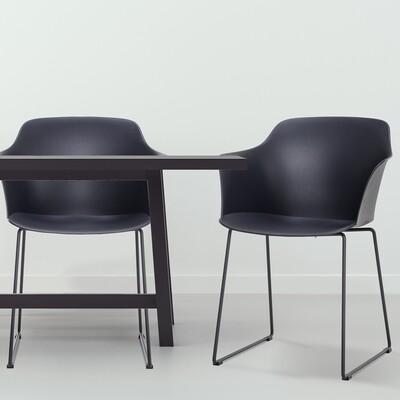 HOMCOM® 2er-Set Esszimmerstuhl Essstühle Metallbeine mit Möbelgleitern PP Anthrazit