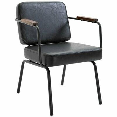 HOMCOM® Esszimmerstuhl 2er-Set Stühle Konferenzzimmer Dickes Sitzkissen Armlehne PU