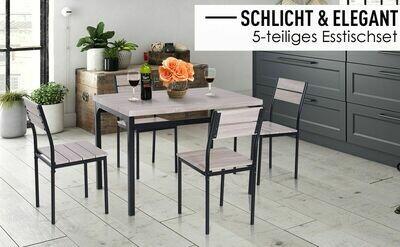 HOMCOM® 5-teilig Essgruppe Sitzgruppe Esstisch-Set Holztisch Naturholzoptik mit 1 Tisch + 4 Stühlen