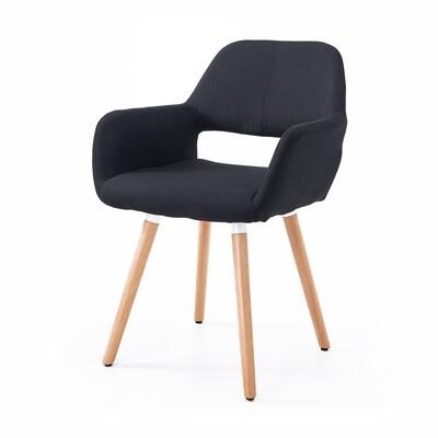 HOMCOM® Esszimmerstuhl Armsessel Küchenstuhl Leinen Holz schwarz