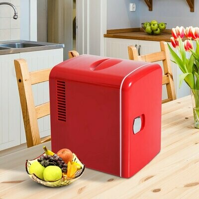 HOMCOM® Mini Kühlschrank Wärmebox 4 Liter Rot