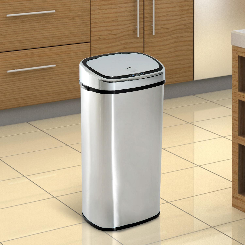 HOMCOM® Automatischer Mülleimer Abfalleimer Automatisch Kücheneimer Bewegungssensor Edelstahl mit Sensor Silber 68 L 40,5 x 29,5 x 78 cm