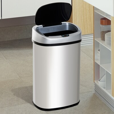 HOMCOM® Mülleimer Automatik mit Infrarotsensor 58L Silber