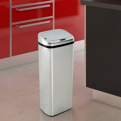 HOMCOM® Mülleimer Automatik mit Sensor Edelstahl 50L Silber