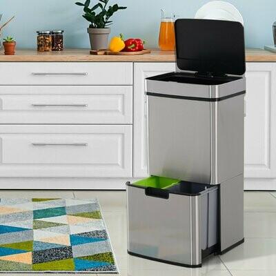 HOMCOM® Mülleimer Abfalleimer mit Sensor 72 L Mülltrennsystem 3-Fach Edelstahl Silber 42 x 30 x 81 cm