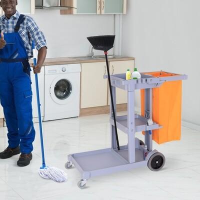 HOMCOM® Putzwagen Systemwagen 3 Ablagen mit Abfallsack Grau