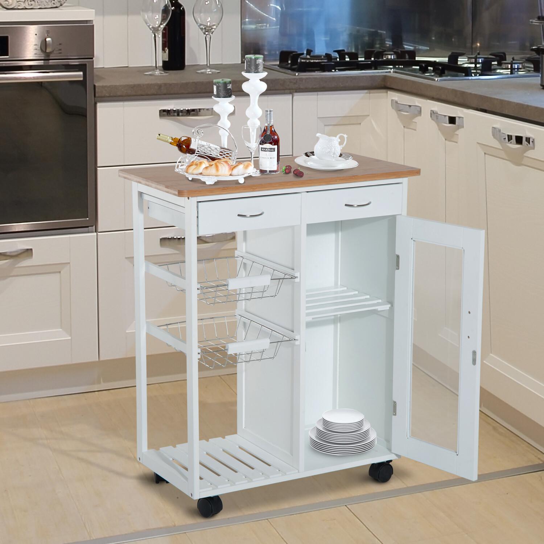 Outlet HOMCOM® Küchenwagen Servierwagen Küchenregal Beistellwagen Kiefer weiss