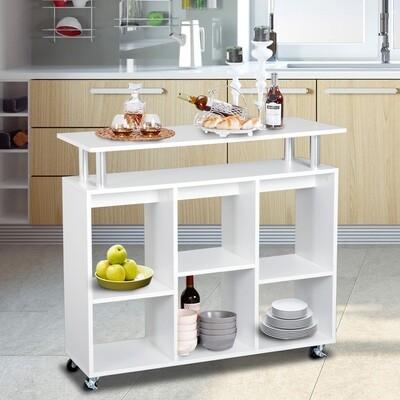 HOMCOM® Küchenwagen Servierwagen Rollwagen mit 6 Fächern Weiss