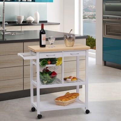 HOMCOM® Servierwagen Küchenwagen Küchenrollwagen mit Rollen Korb Schubladen aus Holz weiss