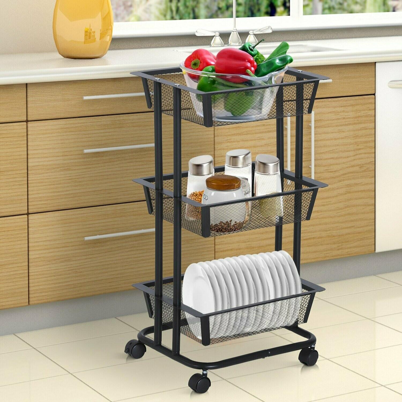 HOMCOM® Küchenwagen Küchenregal Metallregal Allzweckwagen Allzweckregal 3xKorb Karbonstahl Schwarz