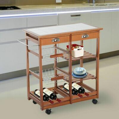 HOMCOM® Küchenwagen aus Holz 2 Schubfächer und Flaschenablage