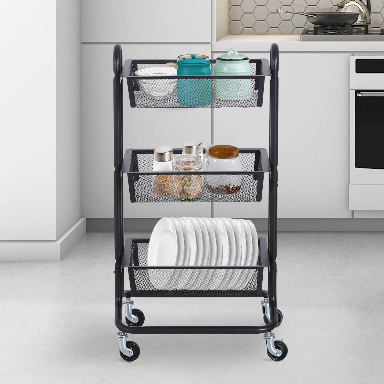 HOMCOM® Küchenwagen und Regal mit 3 Körben   Allzweckwagen   Metall, Karbonstahl   Schwarz