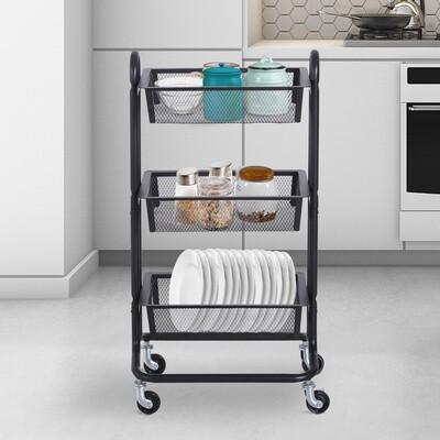 HOMCOM® Küchenwagen und Regal mit 3 Körben | Allzweckwagen | Metall, Karbonstahl | Schwarz
