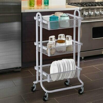 HOMCOM® Küchenwagen und Regal mit 3 Körben | Allzweckwagen | Metall, Karbonstahl | weiss