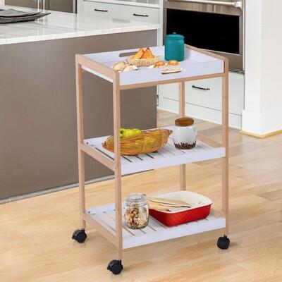 HOMCOM® Küchenwagen rollbar Servierwagen Küchentrolley abnehmbares Tablett