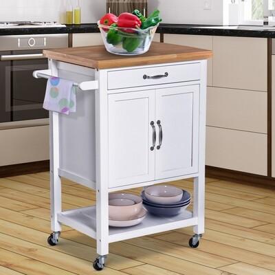 HOMCOM® Servierwagen Küchenwagen Rollwagen Rollbar mit Schublade Pflegeleicht Weiss