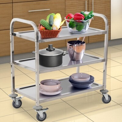 HOMCOM® Servierwagen Küchenwagen 3 Ablage Edelstahl