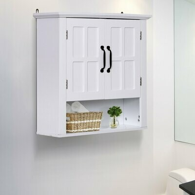 HOMCOM® Küchenschrank Hängeschrank Badezimmerschrank Wandschrank Holz Weiss