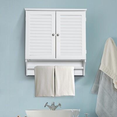 kleankin® Wandschrank Hängeschrank Küchenschrank Mehrzweckschrank Lamellentüren Holz Weiss