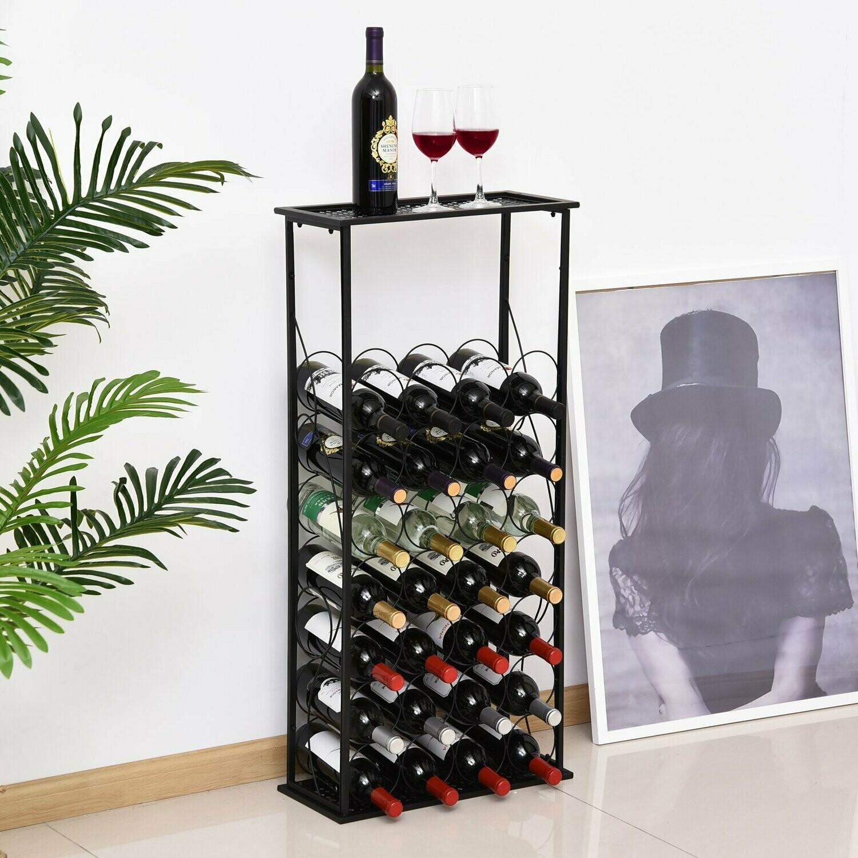 Homcom Weinregal Flaschenregal Weinstander Fur 28 Flaschen Weinschrank Metall Schwarz