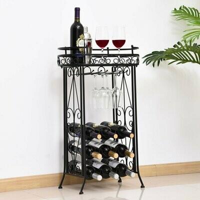 HOMCOM® Weinregal Flaschenregal Weinschrank Weinständer für 9 Flaschen und Gläser Metall Schwarz