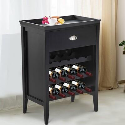 HOMCOM® Weinregal Weinschrank 3 Ebenen 15 Flaschen mit Schublade Schwarz