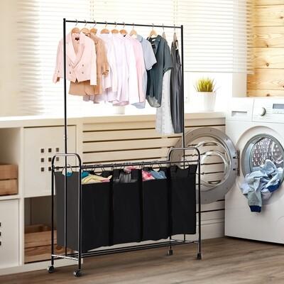 HOMCOM® Wäschekorb Wäschewagen 4 Sortiere Fächer Rollen Schwarz