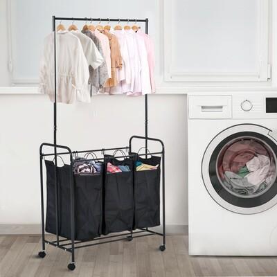 HOMCOM® Wäscheständer Wäschesortierer 3 Fächer Rollen Schwarz