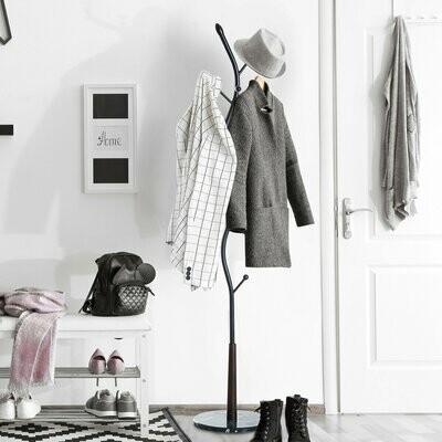 HOMCOM® Garderobenständer Kleiderständer mit 8 Haken Schwarz 185cm