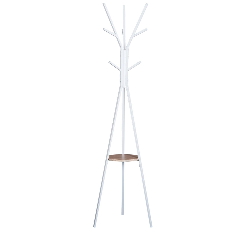 HOMCOM® Kleiderständer Garderobenständer Flurgarderobe Metall Weiss