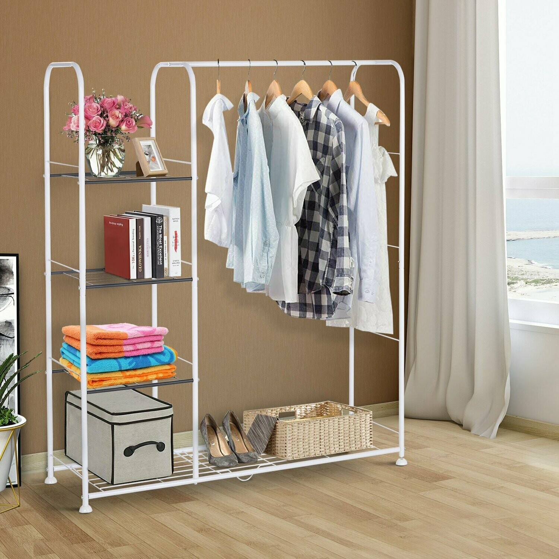 HOMCOM® Kleiderständer Garderobenständer Wäscheständer Kleiderstange Regal Metall Weiss