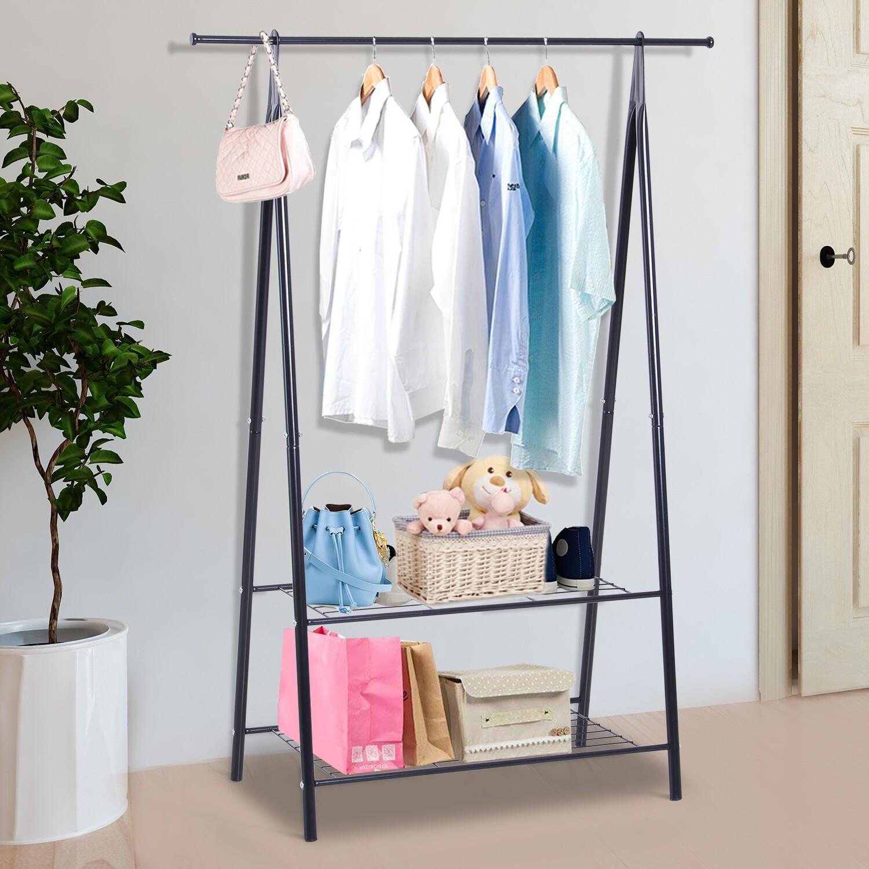 HOMCOM® Gaderobenständer Kleiderständer Kleiderstange mit Schuhablage Wäscheständer