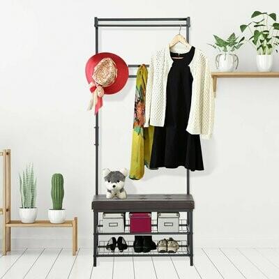 HOMCOM® Kleiderständer Garderobenbank mit 2 Schuhablagen Metall