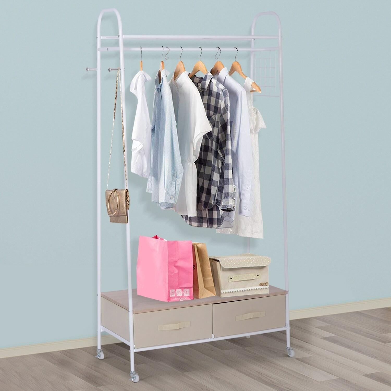 HOMCOM® Kleiderständer Rollgarderobe mit Schubladen Hacken aus Metall+Holz weiss