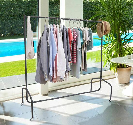 HOMCOM® Kleiderständer und Wäscheständer | Rollgarderobe | Metall | 150 x 60 x 150 cm
