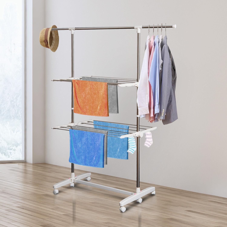 HOMCOM® Wäschetrockner Wäscheständer Turmwäscheständer mit 2 Ebenen