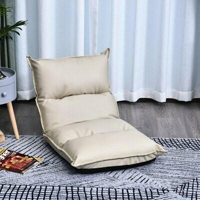 HOMCOM Sitzkissen mit verstellbarer Rückenlehne | Bodenstuhl | Sitzsack Creme