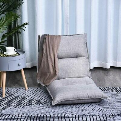 HOMCOM Sitzkissen mit verstellbarer Rückenlehne | Bodenstuhl | Sitzsack grau