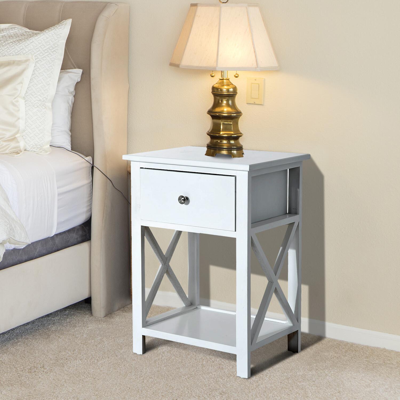 HOMCOM® Beistelltisch Nachttisch mit Schublade Holz Weiss