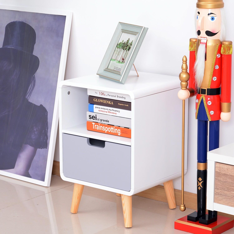 HOMCOM® Nachttisch Nachtkommode Nachtschrank mit Schublade Weiss