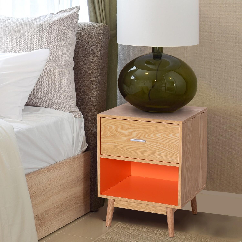 HOMCOM® Nachttisch Nachtkommode Konsole Beistelltisch mit Schublade Holz