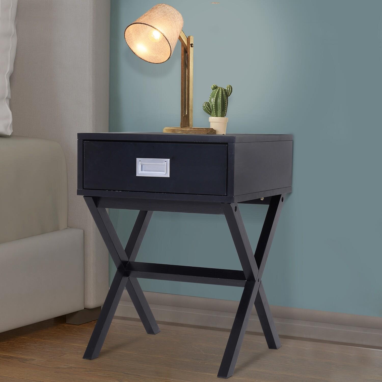 HOMCOM® Nachttisch Nachtkommode Flurkommode mit Schublade Holz schwarz