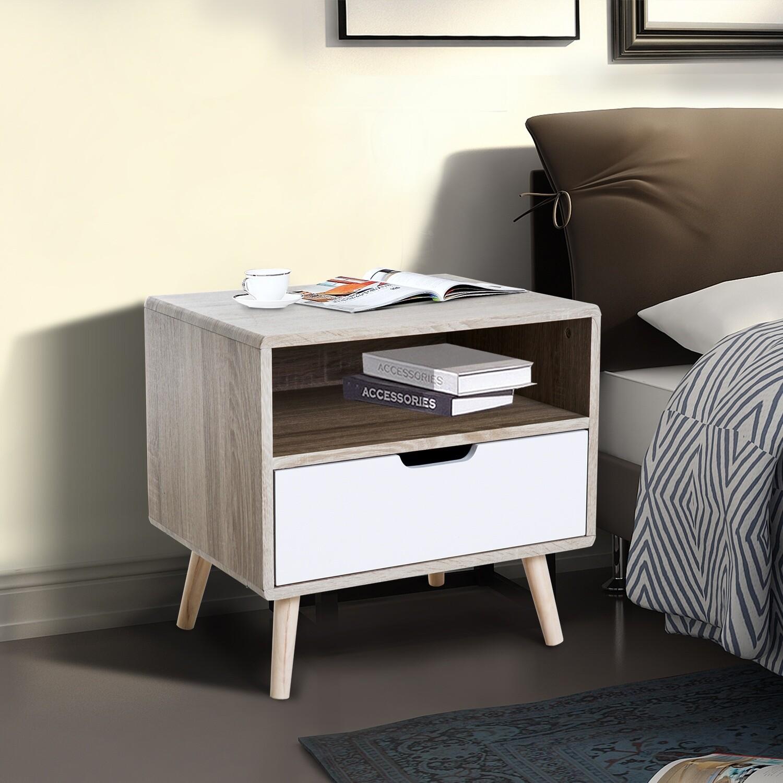 HOMCOM® Nachttisch mit Schublade Retro Holz Natur